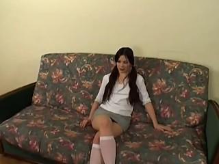 Hairy Cutie Enjoys Dual Dicks In Her..