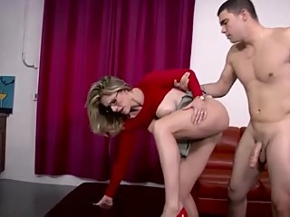 stepMom fucked by stepson and his friend